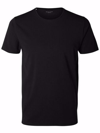 SELECTED PIMA-O-NECK T-SHIRT-BLACK