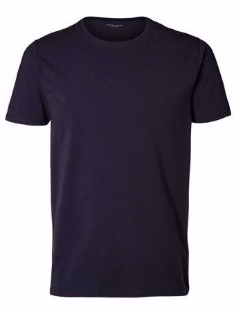 SELECTED - PIMA O-NECK T-SHIRT-NIGHT-SKY