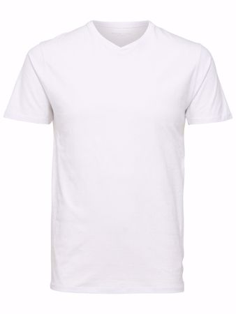 SELECTED PIMA-V-HALS T-SKJORTE-WHITE
