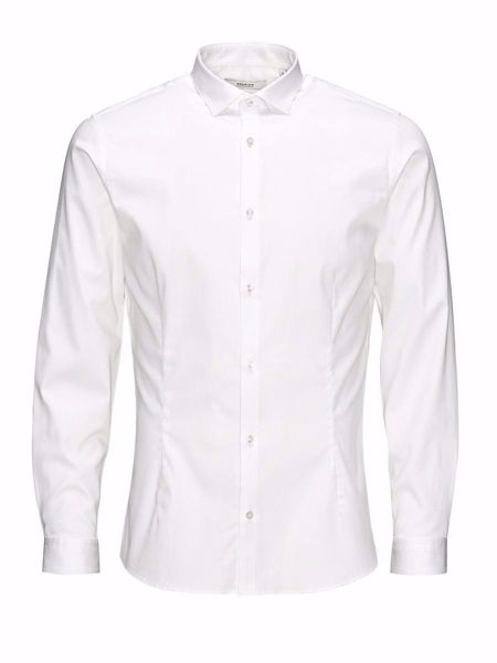 JACK&JONES-SUPER SLIM SKJORTE-WHITE m/stretch