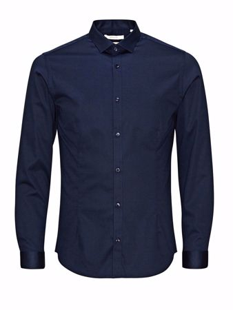 JACK&JONES-SUPER SLIM SKJORTE-NAVY-BLAZER m/stretch