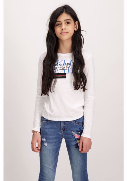 GARCIA-WHITE LONGSLEEVE T-SHIRT WITH A TEXT PRINT-WHITE