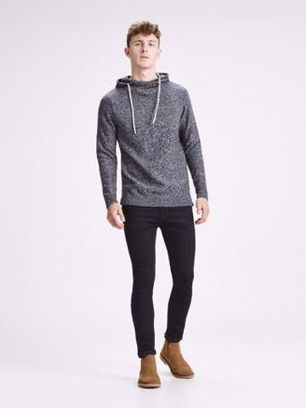 JACK&JONES-STRIKKET PULLOVER-LIGHT-GREY-MELANGE