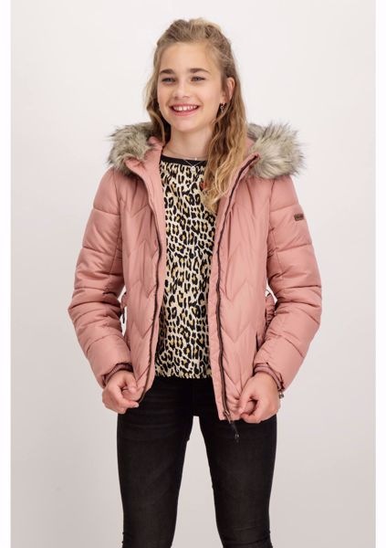 GARCIA-PINK QUILTED JACKET WITH HOODIE-PINK
