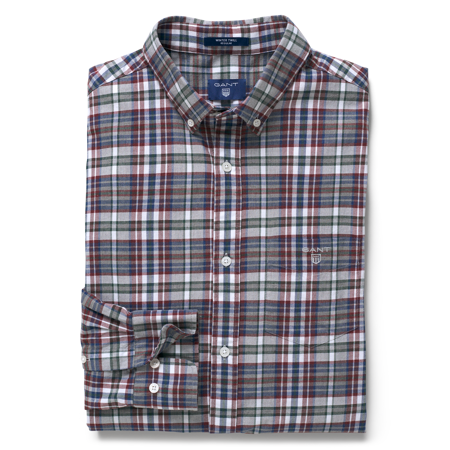GANT-REGULAR WINTER TWILL MELANGE PLAID SKJORTA-PERSIAN-BLUE