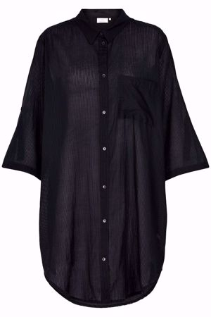 KAFFE-KAJENSINE SHIRT DRESS  SLEEVE-BLACK DEEP
