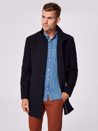 SELECTED HOMME-SLHMOSTO WOOL COAT B NOOS-DARK NAVY