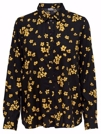 GIN BLUSE - Black/W SPICY MUSTARD FLOWER