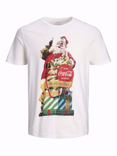 JACK&JONES-JULEPRINT T-SKJORTE-CLOUD-DANCER
