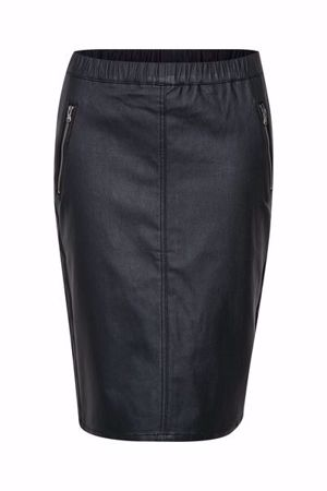 KAFFE-ADA COATED ZIP SKIRT-BLACK-DEEP
