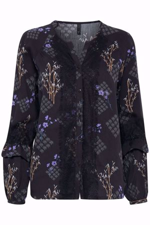 Picture of Pulz-Brooklyn LS Blouse-Black