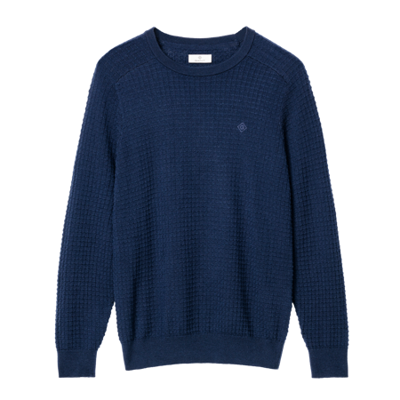 GANT-DIAMOND G MERINO TEXTURED CREW TRÖJA-EVENING-BLUE