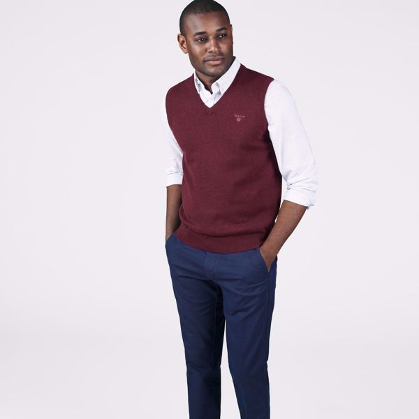 GANT-LIGHTWEIGHT COTTON SLIPOVER-DK.-BURGUNDY-MEL