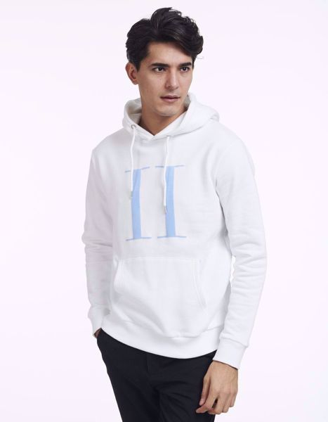 LES DEUX-ENCORE LIGHT HOODIE - WHITE/PLACID BLUE