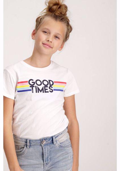 GARCIA KIDS-WHITE T-SHIRT WITH RAINBOW PRINT-WHITE