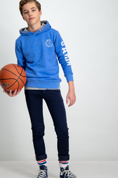 GARCIA KIDS-BLUE HOODIE WITH TEXT PRINT