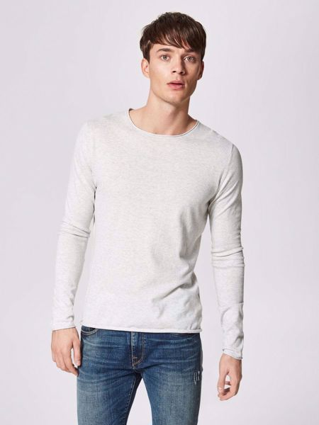 SELECTED HOMME- DOME- CREW NECK - STRIKKET PULLOVER-SNOW-WHITE