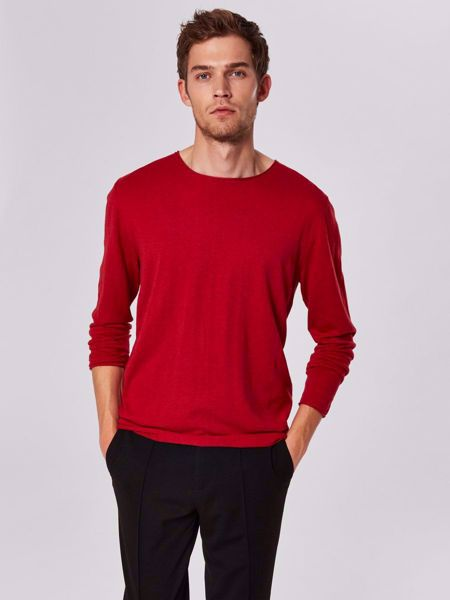 SELECTED HOMME- DOME- CREW NECK - STRIKKET PULLOVER-RIO-RED