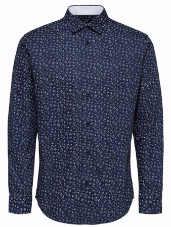SELECTED HOMME- NEW MARK SHIRT -SLIM FIT - LANGERMET SKJORTE-DARK-SAPPHIRE