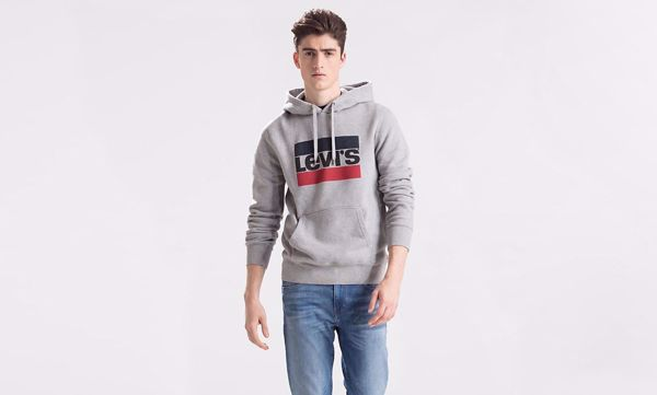 LEVI'S-GRAPHIC PULLOVER HOODIE-SPORTSWEAR-GREY