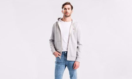LEVI'S-GRAPHIC HOODIE-MEDIUM-GREY-HEATHER