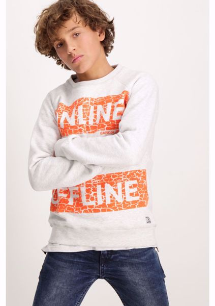 GARCIA KIDS-WHITE SWEATER WITH A TEXT PRINT AND A ROUND NECK-WHITE