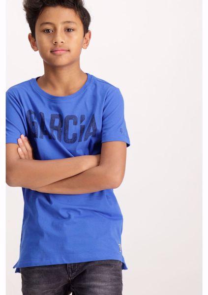GARCIA KIDS-BLUE SHORTSLEEVE T-SHIRT WITH A TEXT PRINT-BLUE