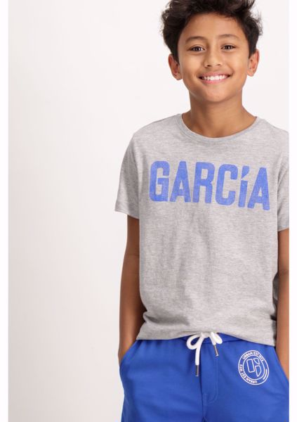GARCIA KIDS-GREY SHORTSLEEVE T-SHIRT WITH A TEXT PRINT-GREYboys