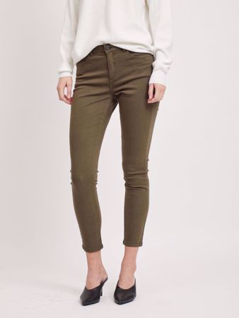 AMY CROPPED SLIM FIT BUKSE - DARK OLIVE
