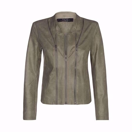 One Two & Luxzuz-Athena Coated Suede Jacket-Olivo