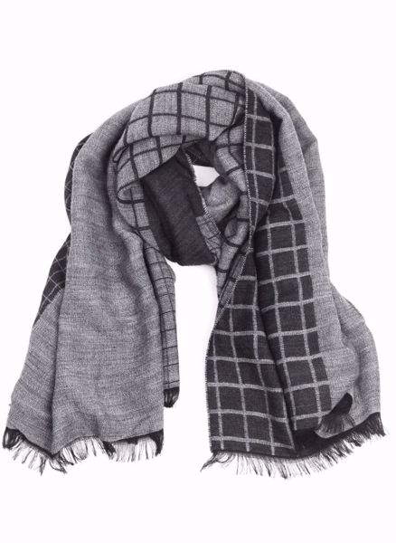 HANSEN&JACOB-OVERCHECKED SCARF-GREY