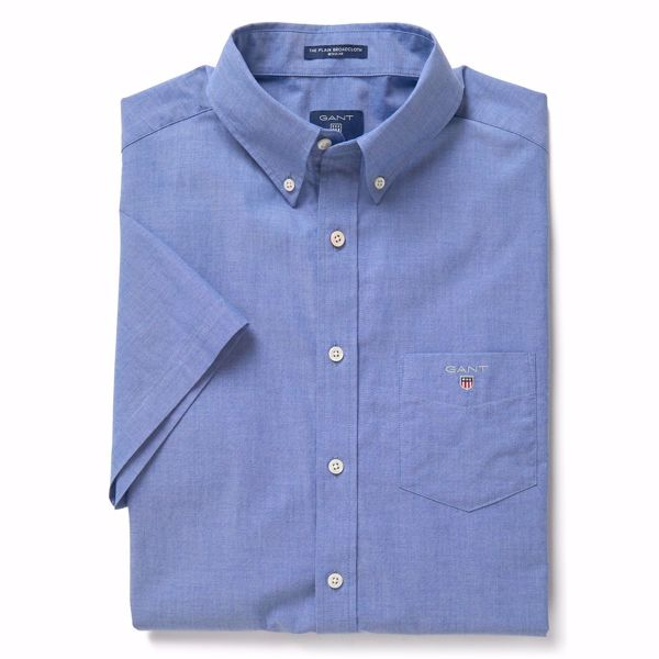 GANT-THE SHORT SLEEVED BROADCLOTH SHIRT-COLLEGE-BLUE
