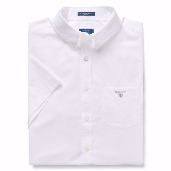 GANT-THE SHORT SLEEVED BROADCLOTH SHIRT-WHITE