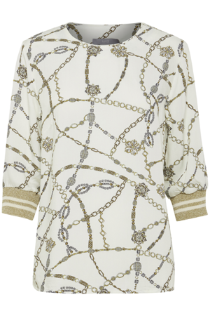 B.Young-Fifilula rib blouse-Off whiteCombi