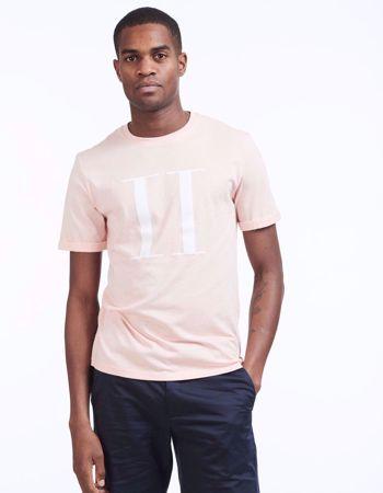 LES DEUX - HVIT T-SKJORTE ENCORE - ROSE/WHITE-ROSE/WHITE