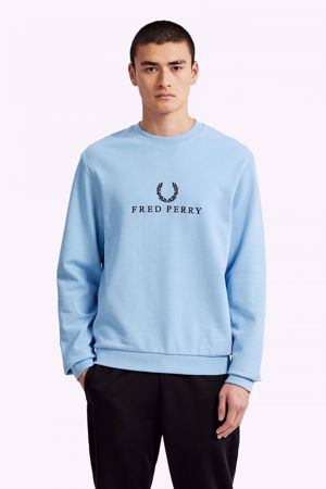 FRED PERRY-SPORTS AUTHENTICEMBROIDERED FLEECE SWEATSHIRT-GLACIER