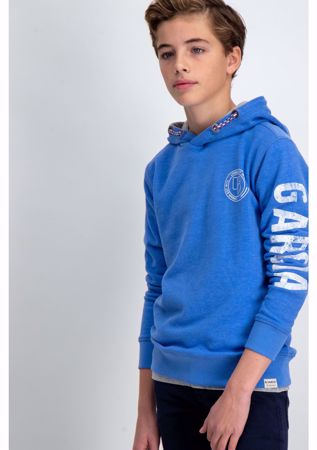 GARCIA KIDS-BLUE HOODIE WITH TEXT PRINT-BLUE