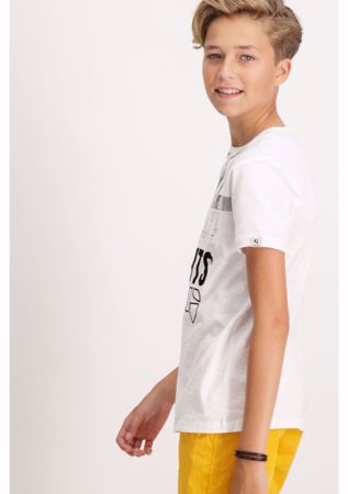 GARCIA KIDS-WHITE T-SHIRT WITH TEXT PRINT-WHITE