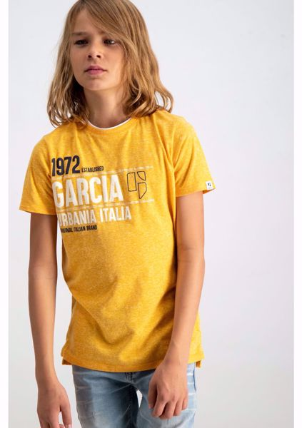 GARCIA KIDS-YELLOW MOTTLED T-SHIRT WITH TEXT PRINT-YELLOW