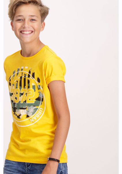 GARCIA KIDS-YELLOW T-SHIRT WITH COLORED PRINT-YELLOW