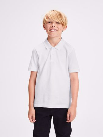 JACK&JONES JUNIOR -PLAIN GUTTE POLOSKJORTE-WHITE