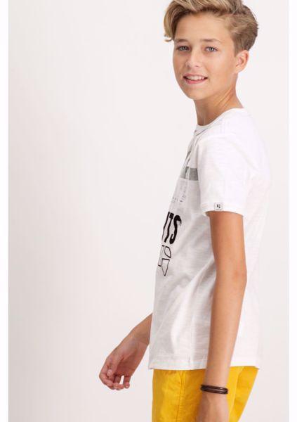 GARCIA KIDS-WHITE T-SHIRT WITH TEXT PRINT-WHITE