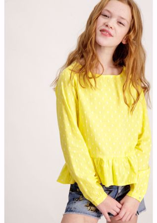 GARCIA KIDS-YELLOW BLOUSE WITH DOT PRINT-YELLOW
