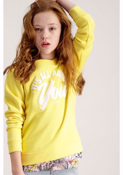 GARCIA KIDS-YELLOW SWEATER WITH TEXT PRINT-YELLOW
