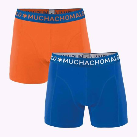 MUCHACHOMALO-1010 BOXER SOLID 2PK 273-VIOLET/ORANGE-SMALL