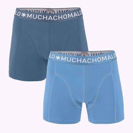 MUCHACHOMALO- 2PK BOXER -ENSFARGET -LIGHT-BLUE/ANTRACITE-SMALL