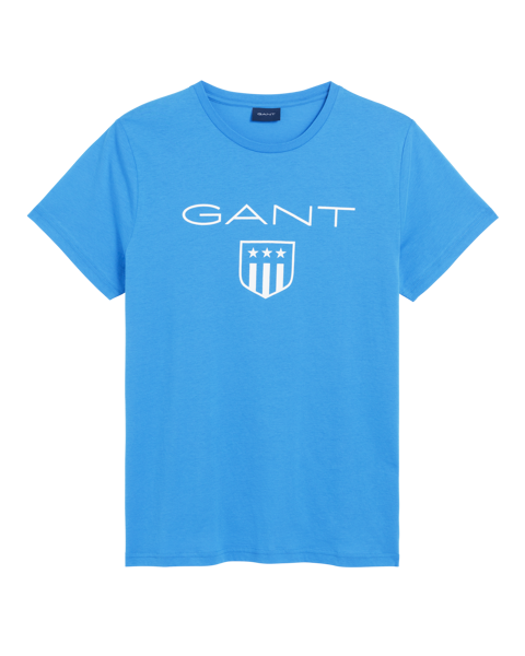 Gant-O1. PRINTED GANT SHIELD SS T-SHIRT-PALACE BLUE