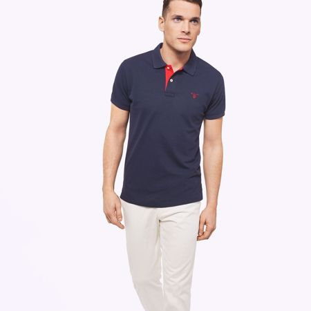 Gant-CONTRAST COLLAR PIQUE SS RUGGER-EVENING BLUE
