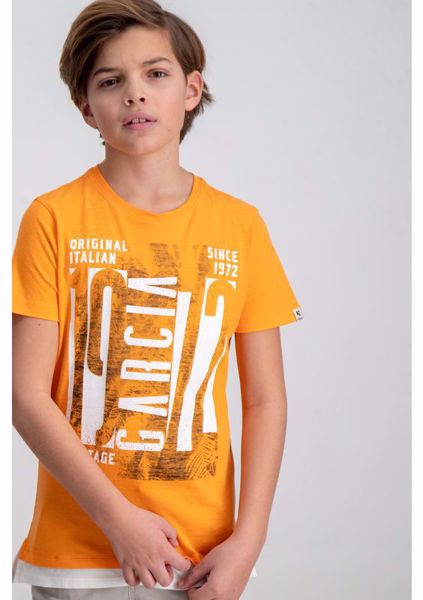 GARCIA KIDS-ORANGE T-SHIRT WITH CHEST PRINT-ORANGE