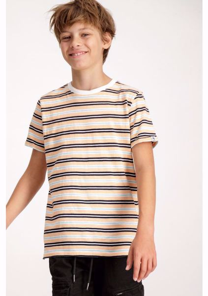 GARCIA KIDS-ORANGE STRIPED T-SHIRT-WHITE